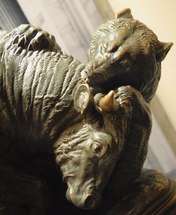 Bull and Bear Statue from the NYSE Luncheon Club